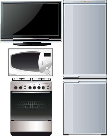 a set of different techniques, television, refrigerator, stove, microwave Vector