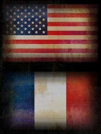 Old, grunge USA and France flags in black background Stock Photo - 9833628