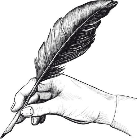 plume: Vintage dessin de la main avec un stylo plume dans le style d'une gravure