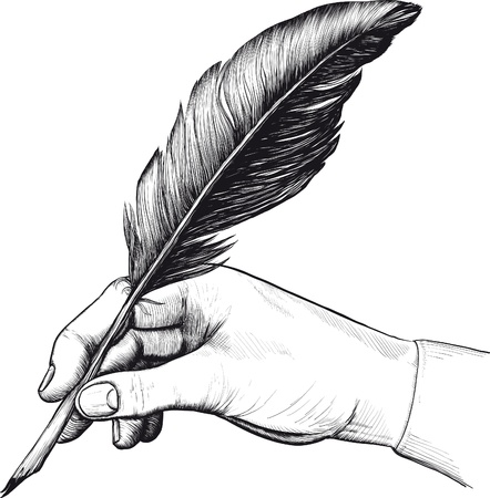 Vintage drawing of hand with a feather pen in style of an engraving