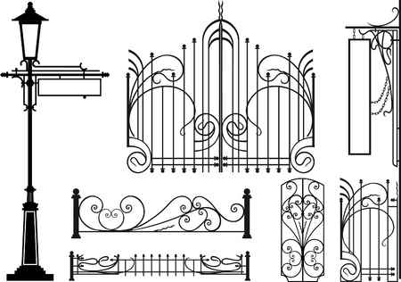 iron fence: Old design elements of city streets. Silhouettes isolated on white