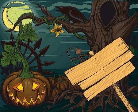 clr: halloween pumpkin jack-o-lanterns and a full moon, tree, and empty blank for text.