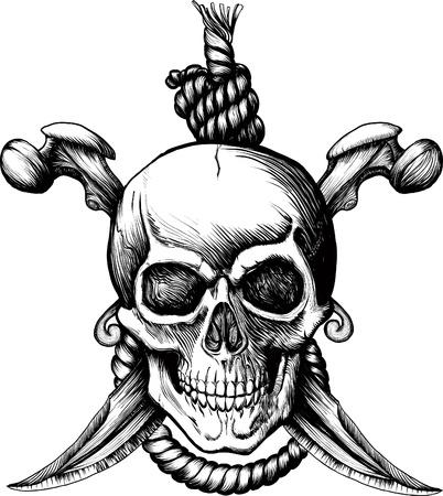pirata: Cr�neo de Rogger Jolly original con dos cuchillos, huesos y cuerda para colgar Vectores