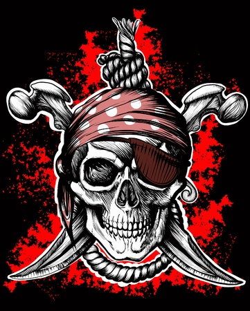 skull tattoo: Jolly Roger, pirate symbol with crossed daggers and rope on the black and red background