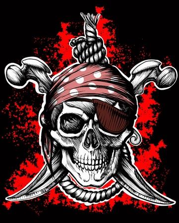 calavera pirata: Jolly Roger, símbolo de pirata con puñales cruzados y cuerda sobre el fondo negro y rojo Vectores