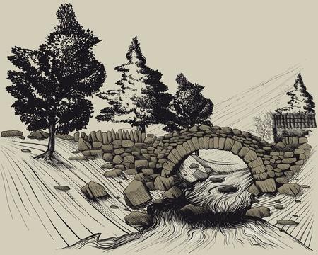 Ilustración que muestra el antiguo puente de piedra en el bosque a través del río y la casa. estilo de grabado Ilustración de vector