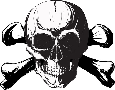 toppa: teschio e ossa umane. Pirata simbolo isolato su uno sfondo bianco