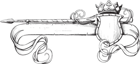 Banner spear and crown painted as prints on a white background Illustration