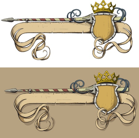 Color Banner spear and crown painted as prints on a white background Illustration