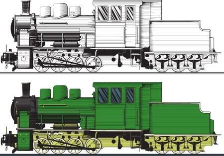 locomotora: Vista lateral de un viejo tren pintado en un croquis. En un soporte variante, negro, blanco fácil para el aislamiento Vectores