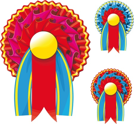 reconocimiento: Tres colores de cintas de premio con un espacio vacío para el texto