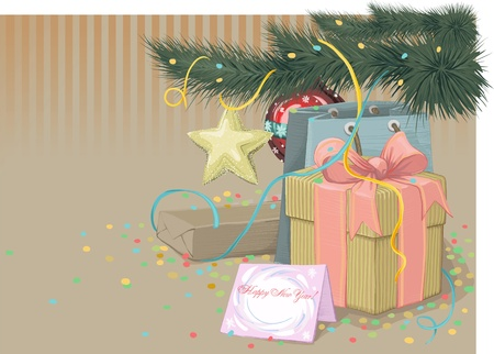 congratulating: Retro Style New Year Card with blank space for your text Illustration