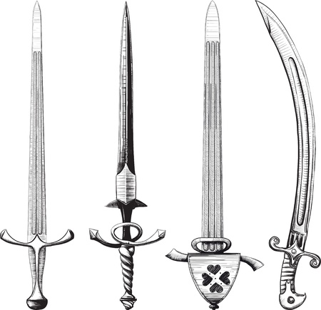 Different set of swords and sabers made like drawing in ink