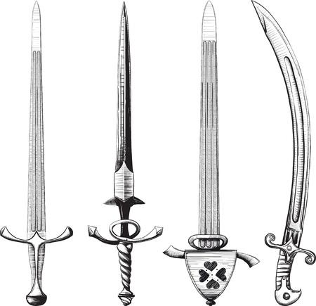 espadas medievales: Conjunto diferente de espadas y sables hechos como el dibujo en tinta