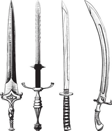cutlass: Conjunto diferente de espadas y sables hechos como el dibujo en tinta