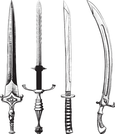 samurai sword: Different set of swords and sabers made like drawing in ink