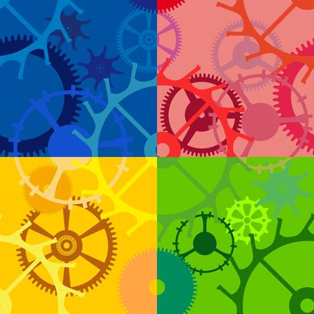 Multicolored seamless background with gears of different sizes and shapes Vector
