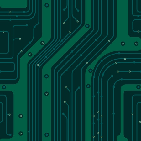 Seamless background simulates the green circuit board. PCB Vector