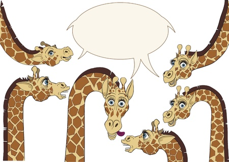 A few giraffes were frozen in amazement and watched with curiosity Vector