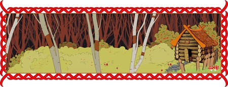 A lonely cottage in the fairy forest. Long picture in a frame Stock Vector - 12959532