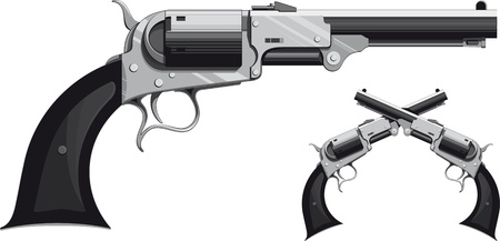 old rifle: cowboy revolver