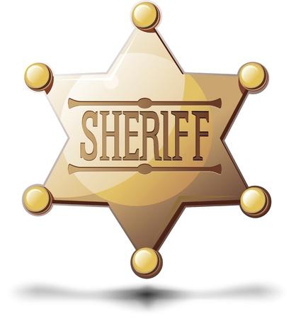 puntig: Sheriff zespuntige ster op een witte achtergrond met een schaduw op de bodem Stock Illustratie