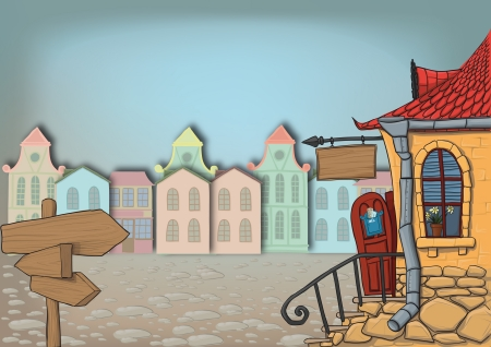 small town: Street in a small town. It starts with street pointer that points to a big house with the door open and the sign above the door Illustration