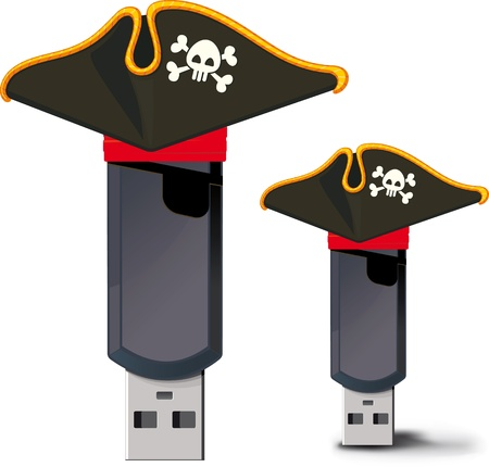pirated: The concept of image A USB flash drive with pirated attributes, and possibly pirated content