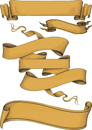 scroll?: banderas de la cinta engravin estilo. Color Vectores