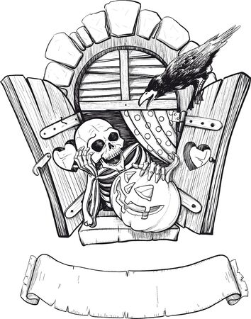 Postcards for Halloween with a cheerful, smiling skeleton, pumpkin and crow who tells them something. Vector