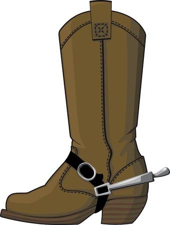 botas vaqueras: Las botas de vaquero con espuelas, los viejos aislados sobre fondo blanco
