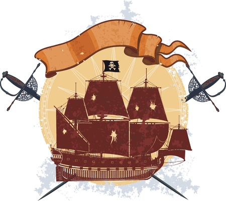 silhouette of a pirate ship on the grange background with two crossed sabers and an empty banner Vector