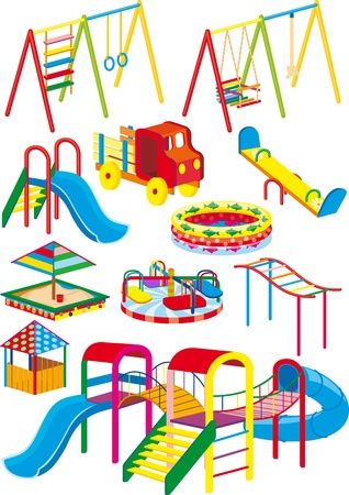 A set of swings, slides and rides for the children's playground in the projection Stock Illustratie