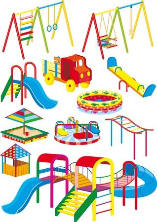 niños en area de juegos: Un conjunto de columpios, toboganes y atracciones para el parque infantil en la proyección Vectores