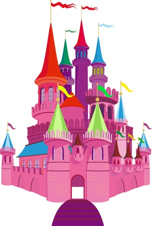 fairytale castle: Pink Fairy-tale Princess Castle on white background Illustration