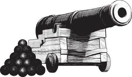 vintage zee pistool en munitie getekend zoals het graveren. geïsoleerd op witte achtergrond Vector Illustratie