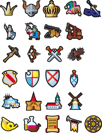A large set of different icons of medieval themes. Иллюстрация