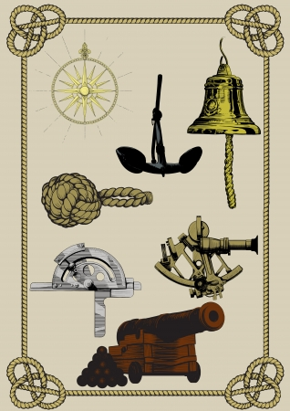 set of ancient naval supplies and tools in a frame of rope. Cannon, Wind rose, anchor, bell and other Stock Vector - 15711401