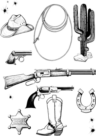 Large collection of cowboy accessories. Weapons, equipment, environment, clothing and lifestyle of the Wild West Illustration