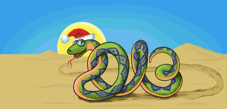 snake crawling through the desert, which is similar to the number in 2013 Stock Vector - 15930315