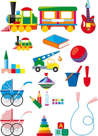 Big set of colorful childrens toys isolated on white background