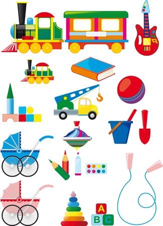 carriage: Grande serie di giocattoli per bambini colorati isolato su sfondo bianco
