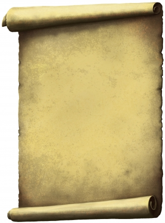 full frame: Old Scroll paper expanded vertically isolated on white.
