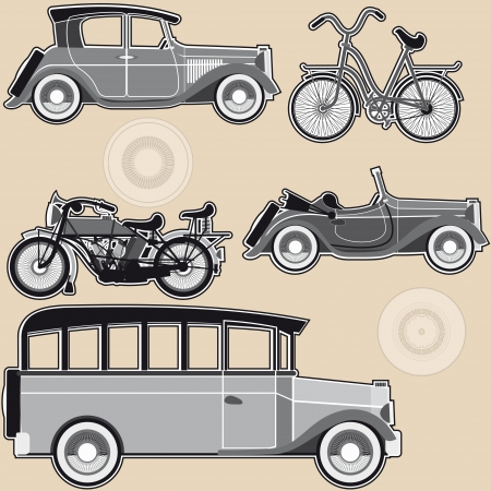 Vintage abstract modes of transport on a beige background Stock Vector - 16610791