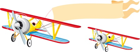 biplane: Flying a small plane with a banner waving behind Illustration