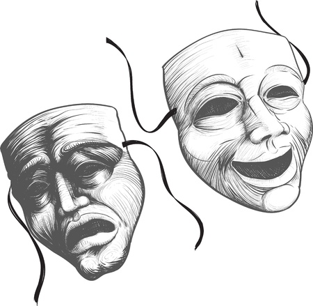 tragedy mask: Two classic theater masks a sad and joyous, comedy and tragedy