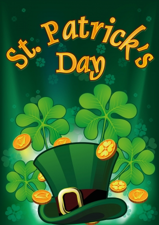 Saint Patric Days Plackard with hat, clover and treasure EPS 10  Stock Illustratie