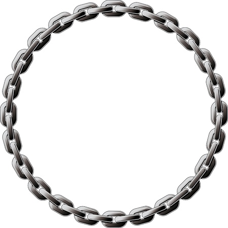 gaza: Cadena de acero en espiral en un círculo aislado sobre fondo blanco