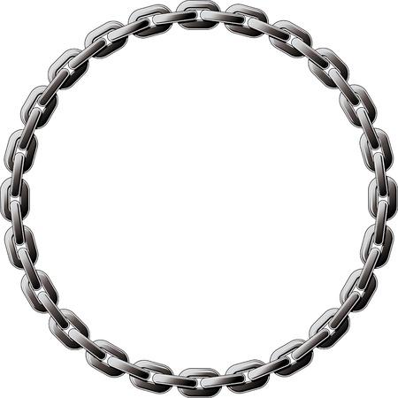 in ketten: Stahlkette gewickelt in einem Kreis auf wei�em Hintergrund