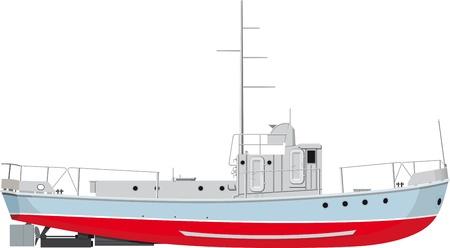 рыбаки: небольшой вид сбоку рыбацкая лодка. подробные иллюстрации на белом фоне